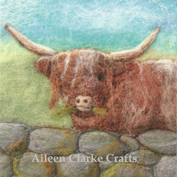 Highland Cow Digital Print from a Felt Landscape