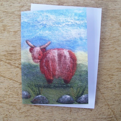 Wee Highland Coo Printed Greetings Card