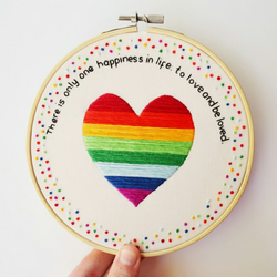 Hand Embroidery Love Rainbow Heart Quote Hoop Art