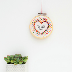 Rainbow Heart Miniature Hand Embroidery Hoop Art