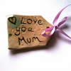 'Love You Mum' Ceramic Gift Tag with Teal Glossy Heart