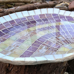 Cockle Shell glass mosaic Bird Bath