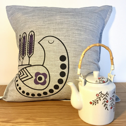 Hand-pulled screen-printed Scandinavian design bird cushion
