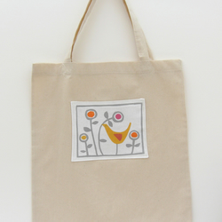 Bird with flower print shopping bag
