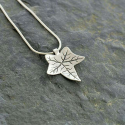 Silver ivy leaf pendant handmade recycled fine folksy silver ivy leaf pendant handmade recycled fine silver clay necklace jewellery mozeypictures Image collections