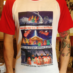 Dr Who Daleks in Christmas Scenes T-Shirt