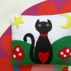 Black Cat/Toadstools Mini Cushion