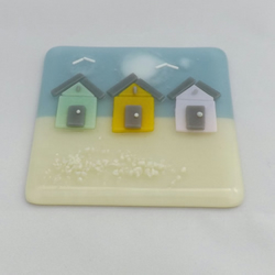 Fused Glass Beach Hut Tile