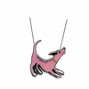 Whimsical cute statement Pink Dog Resin necklace by EllyMental