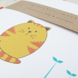 Marmalade cat notecards - set of four