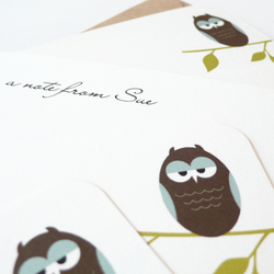 Personalised owl notecards - set of eight