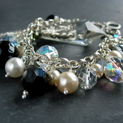 Sparkle and Pearls Silver Charm Bracelet - Black