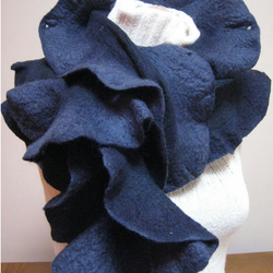 Scarf blue merino and cotton nuno felt