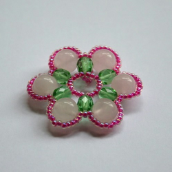 Beading Kit - Spring Blossom Pendant - Pink and Green Colourway