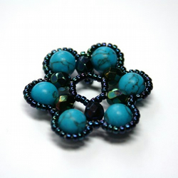 Beading Kit - Spring Blossom Pendant - Teal and Turquoise Colourway