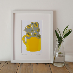 Poppy head lino print - SALE!