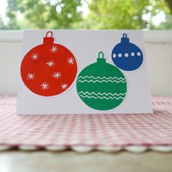 Hand Printed Christmas Card, Baubles Free Uk P&P