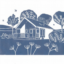 Lino print of your house, wedding venue or business