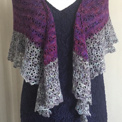 Beaded lace purple shawl
