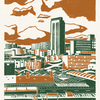 Sheffield City View A3 poster-print (orange-green)