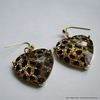 Statement faceted glass leopard print heart earrings
