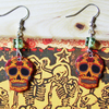 orange sugar skull earrings- Mexican day of the dead