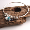 Every Day is New Sterling Silver Bangle with Hand Made Charms