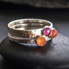 Glow Trio of Silver Stacking Rings with Carnelian and Ruby