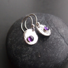 Hammered Disc Earrings with Amethyst