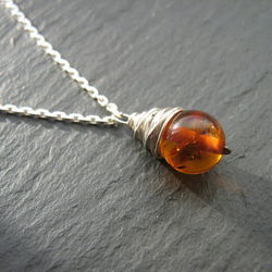 Amber Pendant - Amber Necklace, Wire Wrapped Jewellery