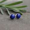 Lapis Lazuli Blue Gemstone Stud Earrings - Sterling Silver Stud Jewellery