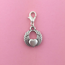 Winged heart clip on charm
