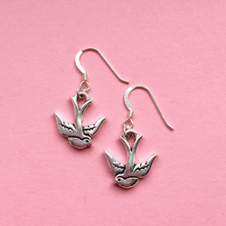 Silver bird earrings - jewellery gift for her
