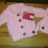 Baby pink Aran  jacket and hat set