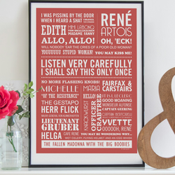 LISTEN VERY CAREFULLY - A2 'Allo, 'Allo! Typographic print