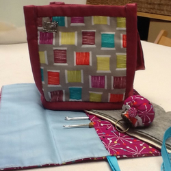 SALE sewing bag with crochet roll, pin ring and needle book