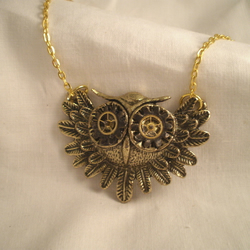 Steampunk Mechanical Owl Necklace