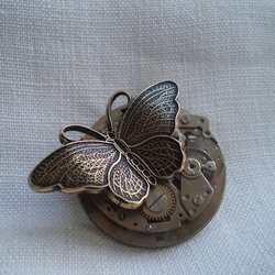 Steampunk Time Flies Butterfly Brooch