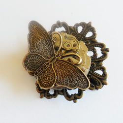 Steampunk Time Flies Butterfly Hair Grip