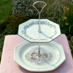 Quirky Prince Charles and Princess Diana commemorative 1981 2 tier cake stand