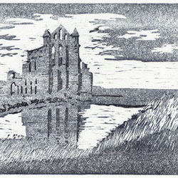 Whitby Abbey woodcut print handpulled limited edition