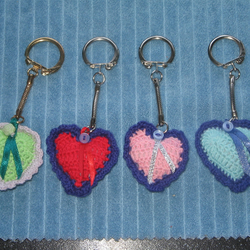 Crochet Padded Heart Key Ring
