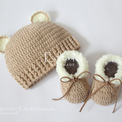 Unisex baby set, crochet baby set, baby shoes, baby hat, beanie