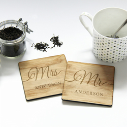Wedding Gift for Mr and Mrs Bride and Groom, Personalised Wooden Coasters