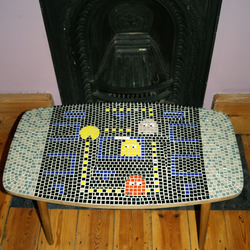 Retro mosaic game table.