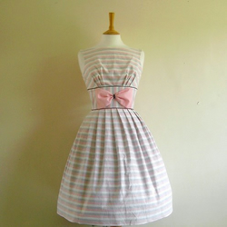 Pink and White Candy Striped Prom Dress - Made by Dig For Victory