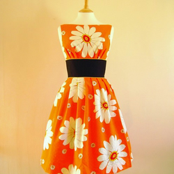 Orange Daisy Prom Dress - Made by Dig For Victory