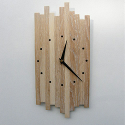 Wall clock in Oak with white affect.
