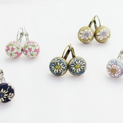 Meadow fabric button earrings 12 mm on lever back. Choose colour.