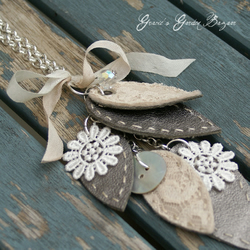 Long Leather and Lace Leaf Necklace